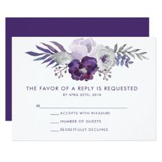 Purple and Silver Watercolor Floral Wedding RSVP Card - floral style flower flowers stylish diy personalize
