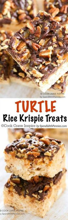 Turtle Rice Krispie Treats are quick and easy to make and loaded with gooey caramel, pecans and rich chocolate. Plus a secret tip to make the best soft chewy Rice Krispie Treats you've ever had! (easy cinnamon rolls for a crowd) Köstliche Desserts, Delicious Desserts, Dessert Recipes, Yummy Food, Bar Recipes, Fudge Recipes, Candy Recipes, Tasty, Rice Crispy Treats