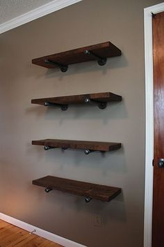Pipe-Bracket Shelving I like galvanized pipes and salvaged wood to make these kinds of shelves.  I'm not sure how long it would be cool, though
