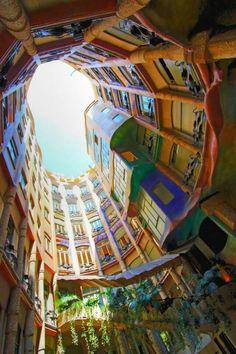 Bunte Häuser in Barcelona