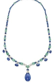 AN EXQUISITE ART DECO SAPPHIRE, EMERALD AND DIAMOND NECKLACE, BY CARTIER