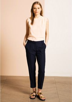 Pantalon 7/8 ème en viscose bleu nuit - Femme - Tara Jarmon 1