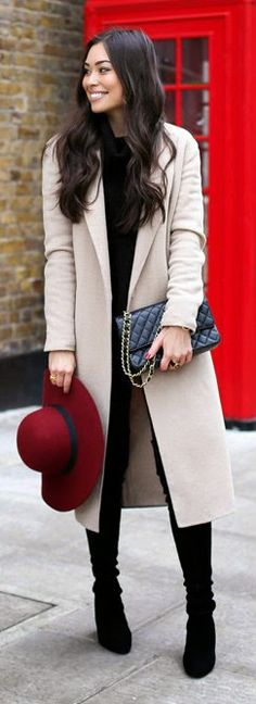 Camel Coat in Knightsbridge - Oversized Ribbed Wool Turtleneck Sweater, High Waist Slim Illusion Luxe Skinny Jeans / With Love From Kat