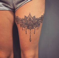 51 Sexy Thigh Tattoos For Women + Cute Designs and Ideas Guide) – - diy tattoo images Lace Thigh Tattoos, Lace Garter Tattoos, Mandala Thigh Tattoo, Thigh Tattoo Designs, Lace Tattoo, Leg Tattoos, Body Art Tattoos, Tattoo Thigh, Back Of Thigh Tattoo