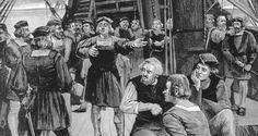 Cristóbal Colón hablando con sus hombres. Había mucha gente en su barco. Muchos hombre lo acompañaron a su viaje.