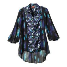 Kirna Zabete at Target LongSleeve High-Low Hem Blouse in Blue Geometric Print XS