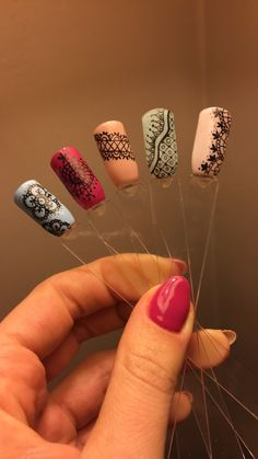 Lace nails, nail art, spring, colorful nail design, hybrid nails