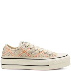 Women's Boho Crochet Platform Chuck Taylor All Star Low Top Egret/Multi/Black egret/multi/black Bohemian Summer, Boho, Converse Chuck Taylor, All Star, Site Nike, Open Weave, Converse Sneakers, Chuck Taylors, Crochet