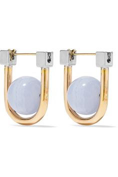 URiBE | Camille gold and rhodium-plated agate earrings | NET-A-PORTER.COM