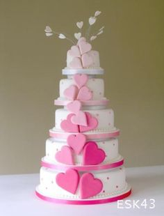 Pink hearts cake