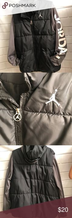 Jordan kids jacket size 12-13 years Color black and grey Size12-13 years Preowned but great condition small signs of wear Thank you for looking Nike Jackets & Coats Puffers