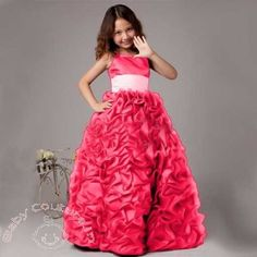 Rose Pink Bow Waves #Kids #Gown