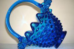 Vintage Fenton Glass Basket Hobnail Basket Blue by Kisses4Lucy, $35.00