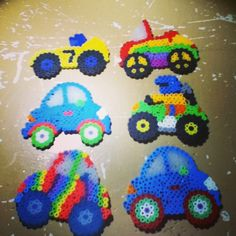 Cars, race cars and clown cars perler beads by Tiara Cunningham