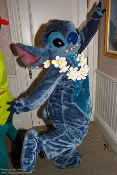 Stitch at Disneyland, with Peter Pan trolling in the background Disney And More, Disney Love, Disney Magic, Stitch And Angel, Lilo And Stitch, Disney Cartoon Characters, Cute Characters, Disney Fanatic, Disney Addict