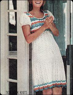 No.120 PDF Vintage Crochet Pattern Womens Empire Waist Puffed Sleeve Dress - Retro Crochet Pattern - Instant Download - Bust 30.5 - 38