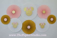 Pink and Gold Minnie Mouse Set of 8 eight Paper by ThePapierStudio
