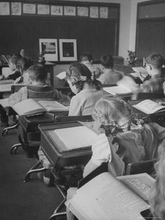 """size: Photographic Print: Typical 10 Year Old Girls Known as """" Pigtailers"""" Sitting in Classroom by Frank Scherschel : Artists Photos Vintage, Vintage Photographs, Old Pictures, Old Photos, Ohio, Old School House, 10 Year Old Girl, Vintage School, School Daze"""