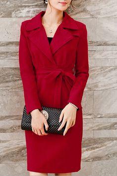 Elegant Turn Down Collar V Neck Belted Coat Belted Coat, Simple Colors, Top Coat, Leather Jacket, V Neck, Blazer, Elegant, Long Sleeve, Jackets