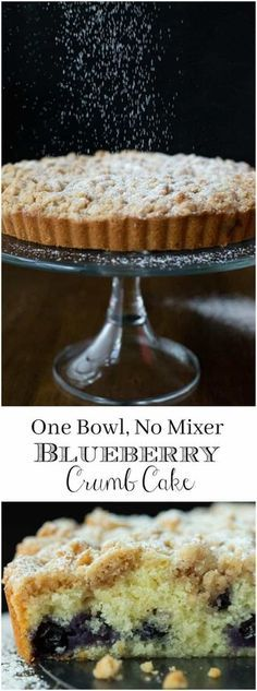 This moist, tender Blueberry Crumb Cake is easy to make (one bowl, no mixer) and is an old family favorite. Everyone who tries it goes crazy via The Caf Sucre Farine Blueberry Cake, Blueberry Recipes, Mini Cakes, Cupcake Cakes, Cupcakes, 7 Cake, Tea Cakes, Cake Recipes, Dessert Recipes