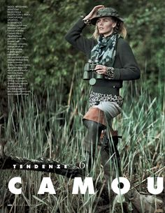 tendenze camouflage: emma sorensen and maritza veer by cedric buchet for elle italia september 2014