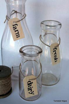 Farm Fresh Dairy Tagged Vintage Milk Bottles Spring  #DIY #vintage #handstamping