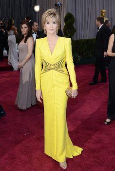 Jane Fonda, dress by Versace.