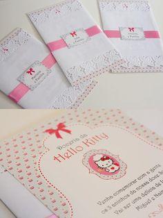convite hello kitty Invitation Cards, Invitations, Festa Party, Cat Party, Greeting Cards, Birthday, Hello Kitty Birthday, Ideas Party, Toddler Girls