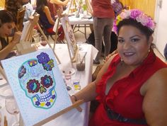 I got my ART ON tonight! My Dia De los muertos painting looks lovely!  It's my FIRST time painting on canvas.  I find it more forgiving that paper... How awesomely UNEXPECTED! Thank you @culturacanvas and @ChaChaCovers for inviting me! The ladies had a ball with my Momz.   #LatinoHeritage #Art #Cultura #Culture #DayOfTheDead #SugarSkull #DiaDeLosMuertos  http://ift.tt/1lJ2z48