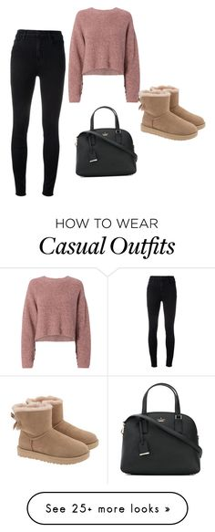 """Casual"" by jessicasfashionblog1254 on Polyvore featuring rag & bone, J Brand, Kate Spade, UGG and cute"