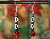 Dzi Beads Earrings Tibetan Dangle Earrings by ByDivineCollectibles