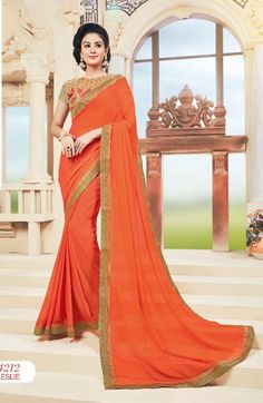 Color fancy dyed in and Fabric with fancy lace border and decorated with heavy resham, patch, zari and stone work. Chiffon Saree, Saree Dress, Georgette Sarees, Sari, Indian Party Wear, Indian Wear, Party Wear For Women, Art Silk Sarees, Party Wear Sarees