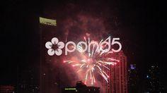 Fireworks At Night Over Bangkok City Skyscraper Tower Slow Motion Hand Held - Stock Footage   by RyanJonesFilms