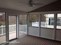 Screened-in porch with Eze-Breeze sliding panels and tongue and groove knee wall.HNH Deck and Porch Screened Porch Designs, Screened In Deck, Deck With Pergola, Pergola Ideas, Porch Ideas, Screened Porches, Pergola Cover, Pergola Plans, Pergola Kits