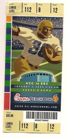 2003 Chick Fil A Peach Bowl Full Ticket Clemson Tennessee....if you like this you can find many more college bowl game tickets for sale at.....www.everythingcollectibles.biz