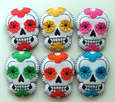 felt day of the dead skulls