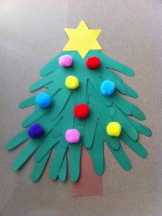 Christmas Tree using cut out handprints. Fun and easy #christmas craft