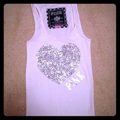 PINK white ribbed tee A few sequins missing, however they can be bought and sewn on. Victoria's Secret Tops Tank Tops