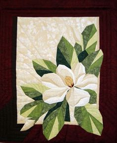 Magnolia, a paper pieced pattern by The Designer& Workshop . This was by far the most complex paper pieced project I have done. I real. Colchas Quilting, Quilting Projects, Quilting Designs, Machine Quilting, Paper Pieced Quilt Patterns, Applique Quilts, Landscape Art Quilts, Hawaiian Quilts, Flower Quilts