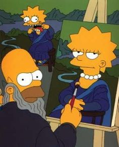 Homer Simpson as Leonardo Da Vinci. He is painting the Mona Lisa. Its funny how when he turns around Lisa makes faces. He seems in an ill mood. Homer Simpson, Mona Lisa Smile, Mona Lisa Parody, Monalisa, Simpsons Art, Famous Artwork, Famous Cartoons, Futurama, Art Plastique