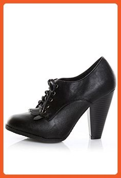 a184c9a9f Bamboo Women s Fenton-04 BLACK Kiltie Oxford Heels