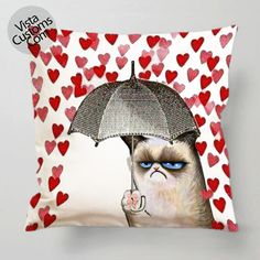 grumpy cat Love Umbrella pillow case, cover ( 1 or 2 Side Print With Size 16, 18, 20, 26, 30, 36 inch )