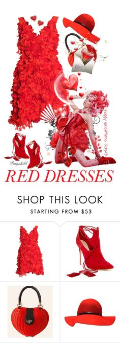 """""""Hot Red Dresses"""" by ragnh-mjos ❤ liked on Polyvore featuring Parlor, Schutz, Thalia Sodi, women's clothing, women, female, woman, misses and juniors"""