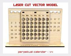 Perpetual calendar Calendar laser cut vector model Perpetual