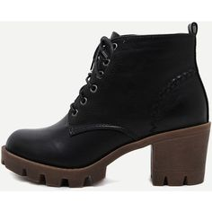 Black Distressed PU Lace Up Rubber Soled Chunky Boots ($50) ❤ liked on Polyvore featuring shoes, boots, zipper boots, vintage black boots, side zip boots, black high heel shoes and chunky black boots