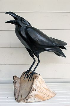 "Hand-Carved Raven $1275 American Wormy Chestnut Sculpture Lance & Wendy Lichtensteiger 23"" Tall"