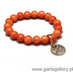 CANDY - Bransoletka z Pomarańczowych Jadeitów z Rozetką Swarovski, Beaded Bracelets, Men, Jewelry, Jewlery, Jewels, Jewerly, Jewelery, Guys