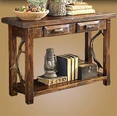 Superior Rustic Sofa Table With Antlers Western Sofa Tables   Handcrafted Rustic Console  Table In Pine With Natural Antler Accent And Drawer Handles.