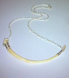 Real Bone Necklace with Sterling Silver Accents Wire by tarren, $40.00