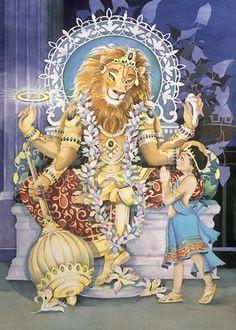 MAY 13. Lord Narasimha: 9 Forms Ugra-Narasimha – in a ferocious form. Santha Narasimha - in a pacified serene mood. Vira Narasimha - in a fighting form. Prahlada Narasimha – with Prahlada. Sayana Narasimha - Reclining position. Yoga Narasimha – in yogic posture. Aghora Narasimha – personification of His power of dissolution. Sudarshana Narasimha - In the Sudarshana Chakra. Lakshmi Narasima – with his divine consort, Lakshmi
